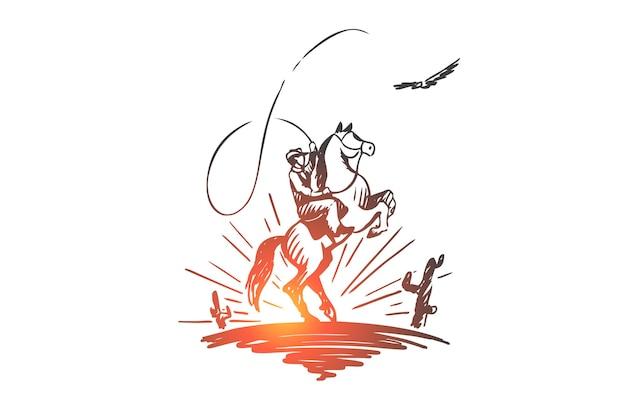 Jour occidental, sauvage, cow-boy, texas, concept de cavalier. cavalier dessiné main dans le croquis de concept de désert sauvage.