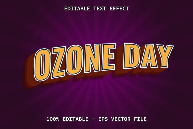 Jour de l'ozone avec effet de texte modifiable de style comique moderne