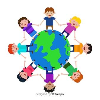 Jour de paix design plat avec des enfants
