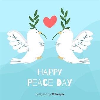 Jour de paix dessiné à la main avec une colombe