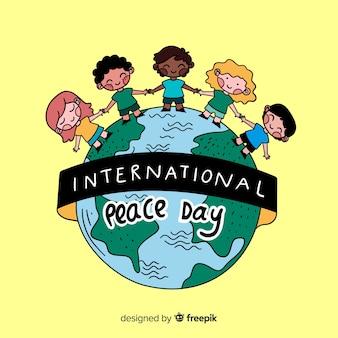 Jour de paix dessiné à la main avec des enfants