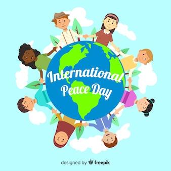 Jour de la paix fond enfants tenant par la main à travers le monde