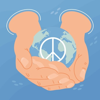 Jour de la paix, levant les mains