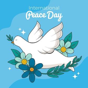 Jour de la paix pigeon et fleurs