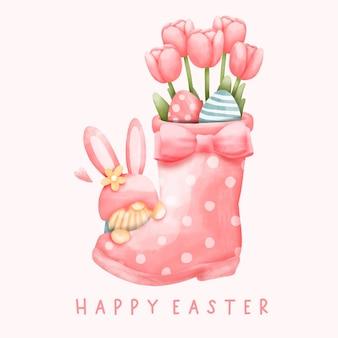 Jour de pâques aquarelle avec lapin gnome et botte de fleurs
