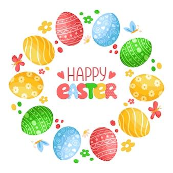 Jour de pâques - couronne décorative ou cadre rond avec des oeufs de pâques, papillon, fleurs et lettrage manuscrit