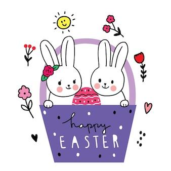 Le jour de pâques, lapin d'amis et oeuf dans la main de panier dessiner dessin animé mignon.