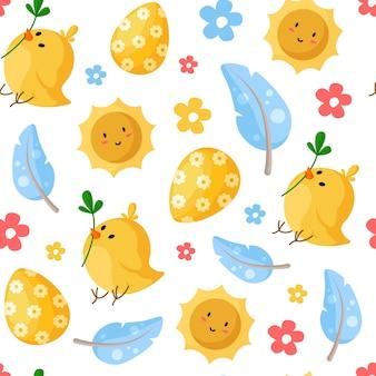 Jour de pâques - modèle sans couture avec oeufs de pâques, poulet, plumes, soleil souriant, fleurs