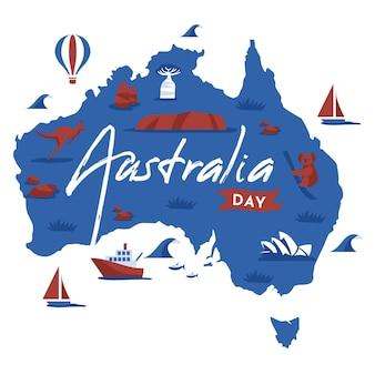 Jour plat australie avec carte australienne
