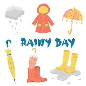 Jour de pluie avec parapluie, bottes, imperméable et nuages avec des gouttes de pluie.