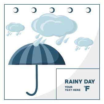 Jour de pluie et le parapluie du calendrier météorologique
