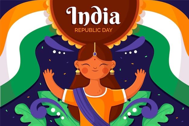 Jour de la république design plat avec danseur indien