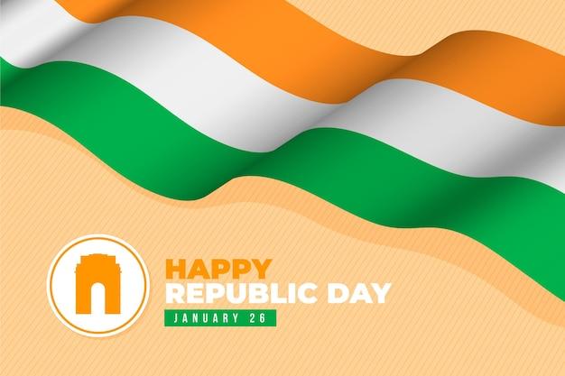 Jour de la république design plat avec drapeau indien