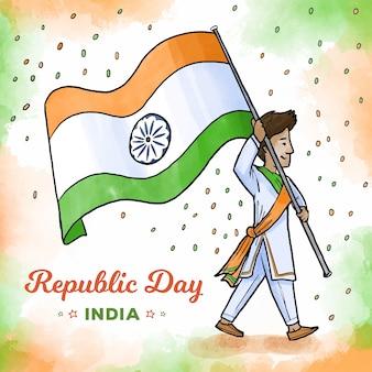 Jour de la république indienne aquarelle