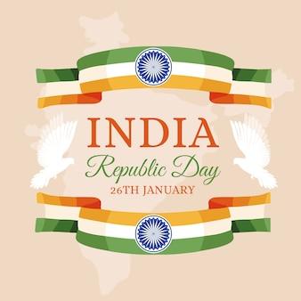 Jour de la république indienne de conception dessinée à la main