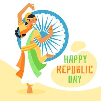 Jour de la république indienne dessiné à la main avec une femme qui danse