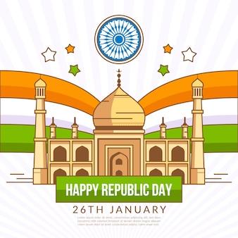 Jour de la république indienne dessinée à la main