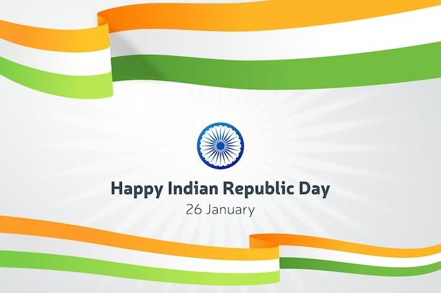 Jour de la république indienne plate avec des rubans