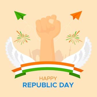 Jour de la république plat avec le poing