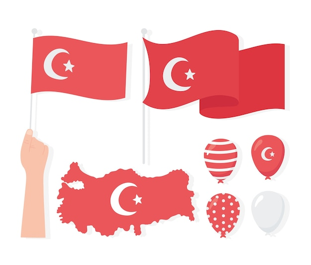 Jour de la république de turquie, carte drapeaux ballons icons set illustration