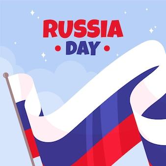 Jour de la russie dessiné à la main avec le drapeau