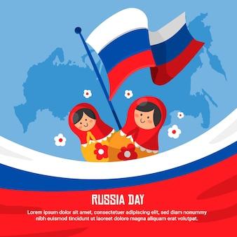Jour de la russie dessiné à la main