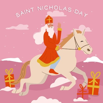 Jour de la saint nicolas au design plat