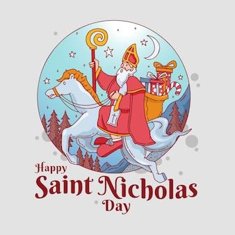 Jour de saint nicolas dessiné à la main