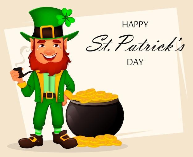 Jour de la saint patrick. leprechaun de personnage de dessin animé