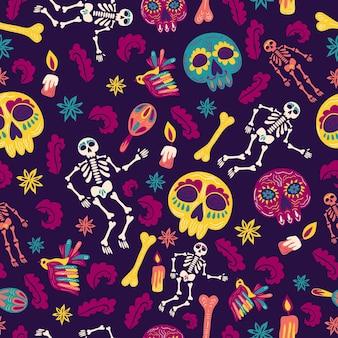 Jour de style dessiné à la main du motif mort