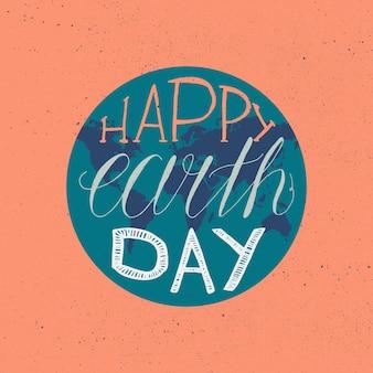 Jour de la terre heureux lettrage illustration pour impression, affiche, voeux, célébration