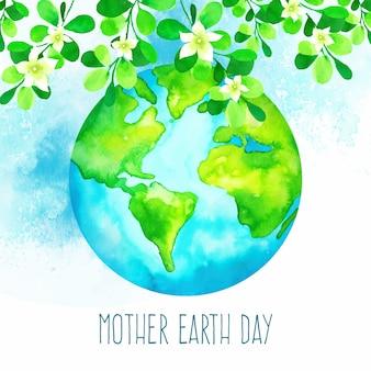 Jour de la terre mère aquarelle