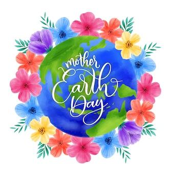 Jour de la terre mère coloré avec des fleurs