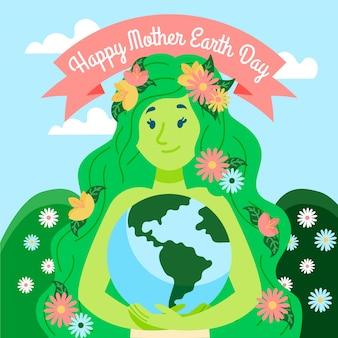 Jour de la terre mère heureuse avec femme tenant la terre