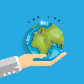Jour de la terre planète dans la main