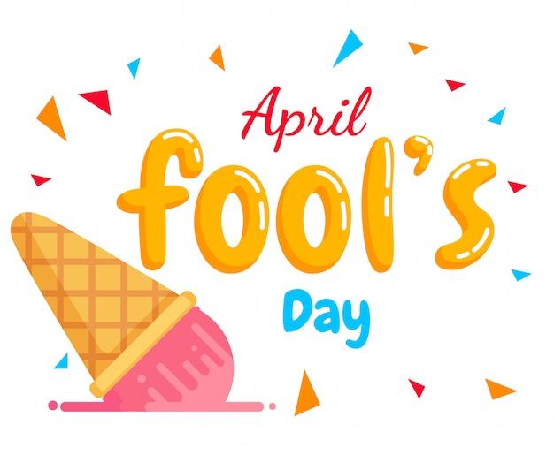 Jour de texte du poisson d'avril et la crème glacée d'automne