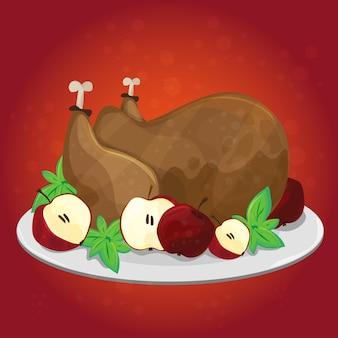 Jour de thanksgiving. carte de voeux avec dinde, pommes - affiche de dessin animé de vecteur