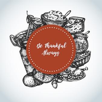 Jour de thanksgiving contexte carte de voeux de dîner en famille