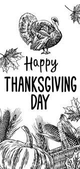 Jour de thanksgiving dessiné à la main avec des feuilles, citrouille, épi de maïs, dinde, oreille et spica sur fond blanc. vector illustration vintage pour carte de voeux.