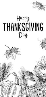 Jour de thanksgiving dessiné à la main avec des feuilles, de la citrouille, de l'épi de maïs, de l'oreille et du spica sur fond blanc. vector illustration vintage pour carte de voeux.