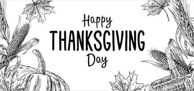 Jour de thanksgiving dessiné à la main avec des feuilles d'épi de maïs citrouille et spica sur blanc