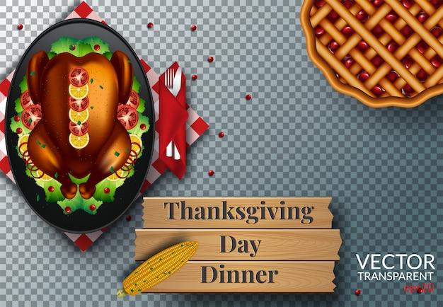 Jour de thanksgiving dîner vue de dessus sur transparent