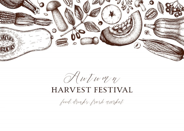 Jour de thanksgiving. fond vintage de festival de récolte d'automne. toile de fond de saison d'automne avec des baies dessinées à la main, fruits, légumes, illustration de champignons. éléments botaniques traditionnels