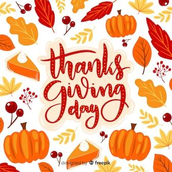 Jour de thanksgiving lettrage de fond