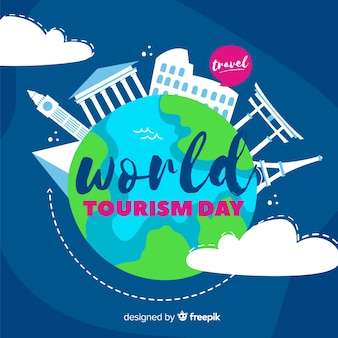 Jour de tourisme dessiné à la main avec bulle de discussion de voyage