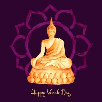 Jour de vesak aquarelle avec bouddha