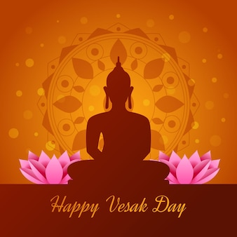 Jour de vesak plat avec bouddha