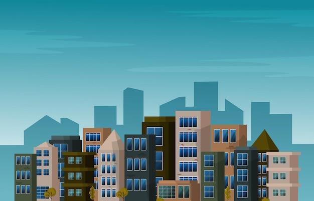 Jour ville gratte-ciel urbain bâtiment vue paysage urbain illustration design plat