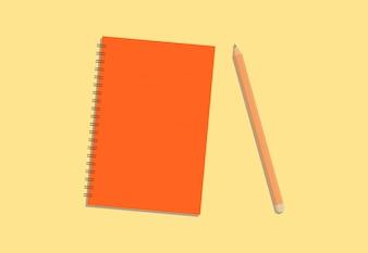 Journal coloré et crayon avec fond crème
