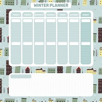 Journal hebdomadaire de planificateur quotidien noël style scandinave sur le thème mignon planificateur d'hiver